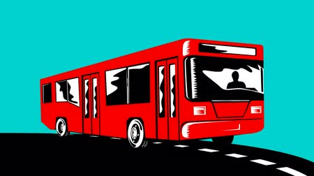 koç : 2d animation of a coach bus shuttle on road done in retro style on green screen background.