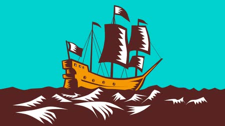 woodcut : 2d animation  of a tall sailing cargo ship galleon done in retro woodcut style on green screen. Stock Footage