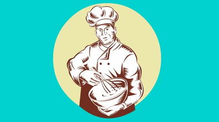 woodcut : 2d animation of a baker chef cook with mixing bowl set inside oval done in retro woodcut style.