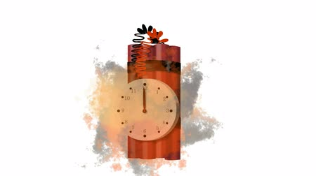 tık : 2d video animation of a stick of TNT bomb explosive with timer stopwatch ticking and exploding on isolated white background. Stok Video