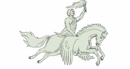 pegaz : 2d Animation motion graphics showing drawing sketch style illustration of Bellerophon, a Greek mythology hero riding Pegasus, a winged horse-god divine stallion holding torch viewed from the side set on white screen and green screen with alpha matte done