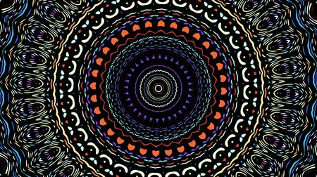esotérico : Round ornate ornamental mandala pattern on black background. Seamless loop footage.