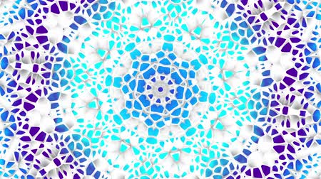Transforming round mandala pattern. Seamless loop footage. Emboss geometric lattice mandala in arabic style. Islamic geometric arabesque pattern. Wideo