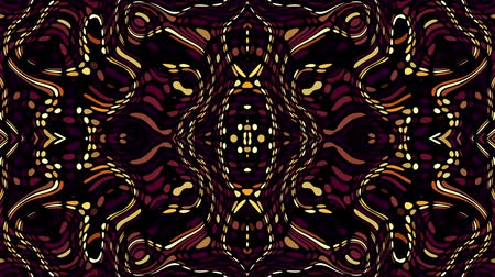 племенной : Symmetric abstract wavy ornament. Animated ethnic tribal pattern. Looping footage. Стоковые видеозаписи
