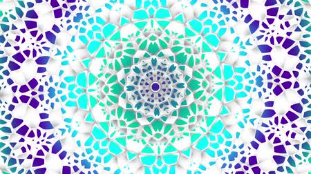 ramadan : Transforming round mandala pattern. Seamless loop footage. Emboss geometric lattice mandala in arabic style. Islamic geometric arabesque pattern. Stock Footage