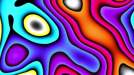 em camadas : Moving random wavy texture. Psychedelic wavy animated abstract curved shapes. Looping footage.