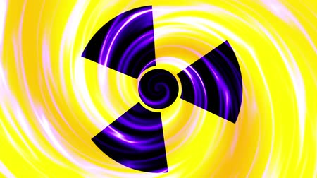 radyoaktif : Spinning a radiation warning symbol. Looping footage.