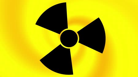 atenção : Spinning a radiation warning symbol. Looping footage.