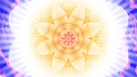 lotusbloem : Spinning abstract magic flower. Esoteric cosmic mandala with rayses. Looping footage. Symbol of the sun.