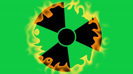figyelmeztető jel : Spinning a radiation warning symbol on green screen background. Looping footage.