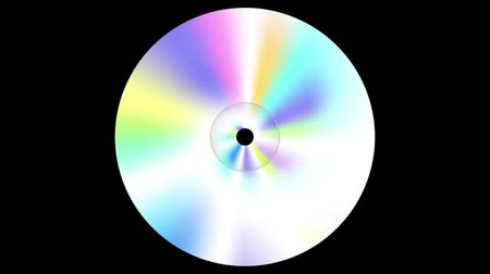 graphic arts : Abstract spinning CD disc on black background . Looping footage. Stock Footage