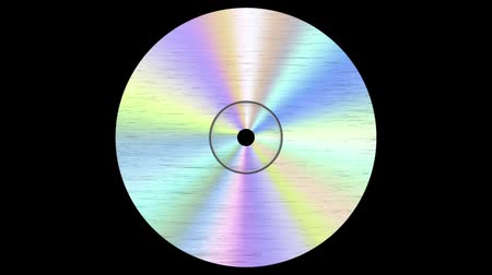 графика : Abstract spinning CD disc on black background . Looping footage. Стоковые видеозаписи