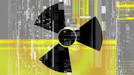 artifacts : Spinning a radiation warning symbol. Looping footage.