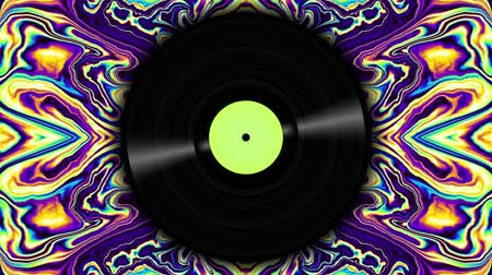 vinil : Spinning vinyl discs on abstract moving background. Seamless looping footage. Stock Footage