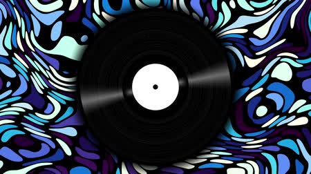 kaydetmek : Spinning vinyl disc on abstract moving background. Seamless looping footage. Stok Video