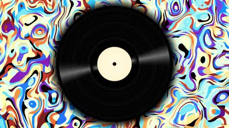 şekerleme : Spinning vinyl disc on abstract moving background. Seamless looping footage. Stok Video