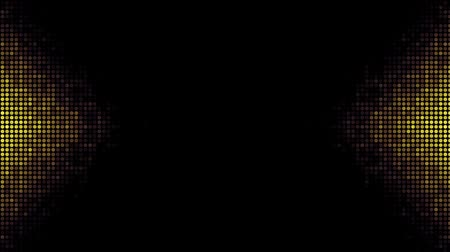 futurismus : Abstract futuristic background with moving small circles. Gold dots on black background. Animated looping footage. Dostupné videozáznamy