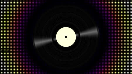 dyskoteka : Spinning vinyl disc on abstract moving background. Seamless looping footage. Wideo