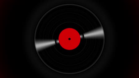şekerleme : Spinning vinyl discs on abstract black background. Seamless looping footage. Stok Video
