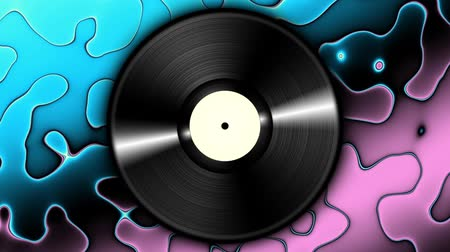 disko : Spinning vinyl discs on abstract moving background. Seamless looping footage. Stok Video