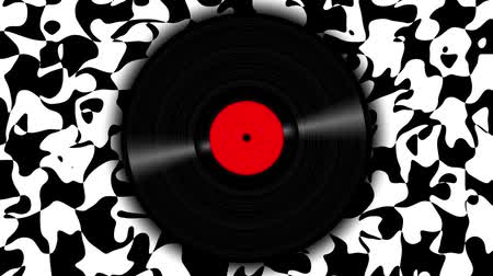 ilustracje : Spinning vinyl discs on abstract moving background. Seamless looping footage. Wideo