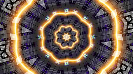 симметричный : Moving geometric shapes. Transforming futuristic technology mandala. Looping footage.