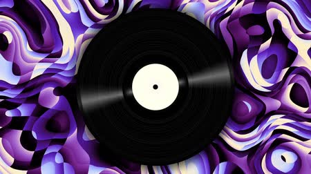 винил : Spinning vinyl disc on abstract moving background. Seamless looping footage. Стоковые видеозаписи