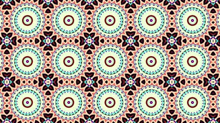 シンメトリック : Symmetric mosaic tile transforming ornament. Mosaic circles. Abstract footage in Art Nouveau style. Loop footage.