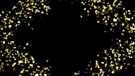 shimmer : Moving geometric shapes. Gold shimmer mosaic on black background. Seamless looping footage. Stock Footage
