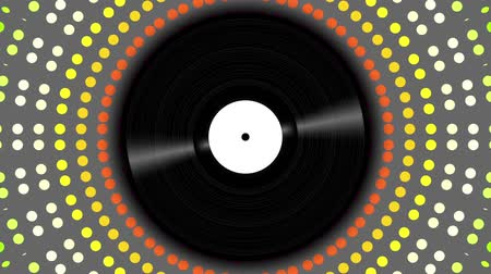 gravar : Spinning vinyl disc on abstract moving background. Seamless looping footage. Stock Footage