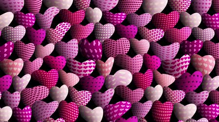 kübizm : Wavy moving stirring background. Hearts pattern. Seamless looping footage.