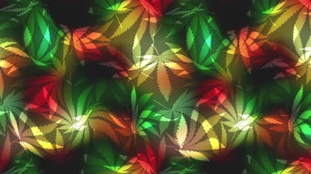 barışçı : Wavy moving stirring background. with Hemp leaves. Seamless looping footage. Stok Video