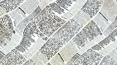rastr : Wavy moving stirring background with newspaper texture. Text is unreadable. Seamless looping footage.