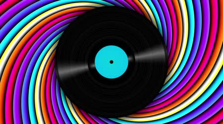 леденец : Spinning vinyl discs on abstract moving background. Seamless looping footage. Стоковые видеозаписи