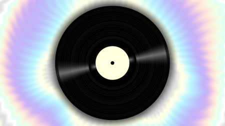 vinyl record : Spinning vinyl disc on abstract moving background. Seamless looping footage. Stock Footage