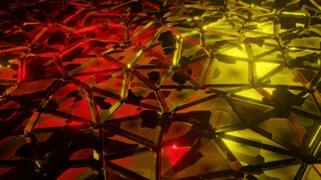 matriz : Abstract polygon metallic pattern wave on red yellow light modern luxury technology futuristic animation background illustration. Stock Footage