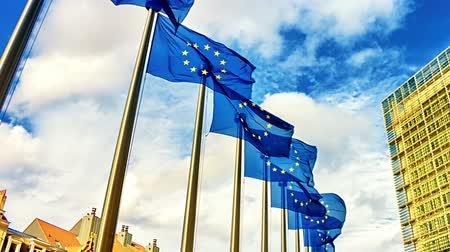 alargamento : European Union flags waving in the wind in front of European Commission. Brussels, Belgium. Slider shot, full HD, 1080p Stock Footage