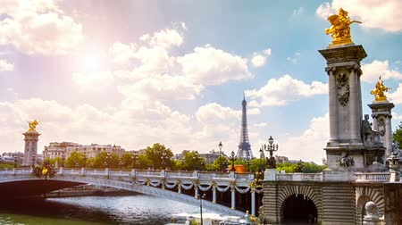 View of Eiffel Tower and Alexander III Bridge. Paris, France. Timelapse, Full HD, 1080p