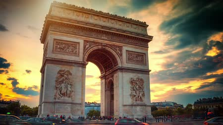 Beautiful sunset over Arc de Triomphe. Paris, France. Timelapse, Full HD, 1080p