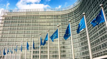 European Union flags waving in the wind in front of European Commission. Brussels, Belgium. Full HD, 1080p Stock Footage