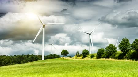 Country landscape with wind turbines. Ecological concept, Full HD, 1080p Stok Video