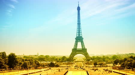 Cityscape with Eiffel tower and Trocadero at sunny summer day. Paris, France. Timelapse, 4K, Ultra High Definition, Ultra HD, UHD, 2160P, 3840 x 2160 Stock Footage