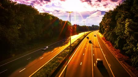 Landscape with highway at spectacular summer sunset. Timelapse, Full HD, 1080p