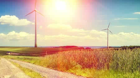 Country landscape with wind turbines. Ecological concept with windmill. Full HD, 1080p