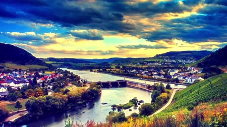 Panoramic landscape with river lock and autumn vineyards. Mosel, Germany. Timelapse, Full HD, 1080p Stock Footage