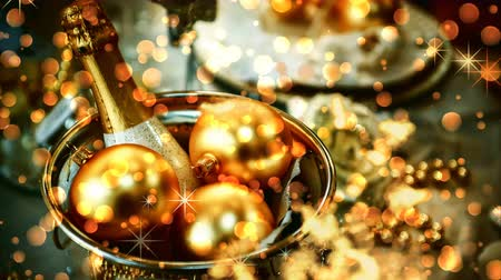 Christmas seamless looping with magic lights. Christmas background with bottle of champagne and festive decorations in golden tone. 4k