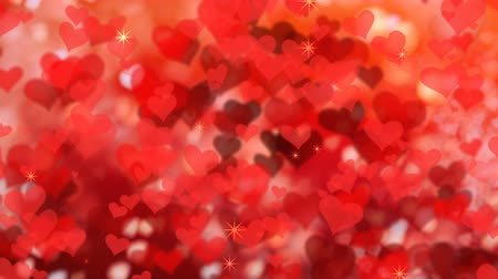 Valentines day background with red hearts, seamless looping. Valentines backdrop with copyspace. 4k