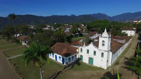 rio de janeiro state : Aerial view church of the beautiful portuguese colonial typical town of parati in rio de janeiro state brazil Stock Footage