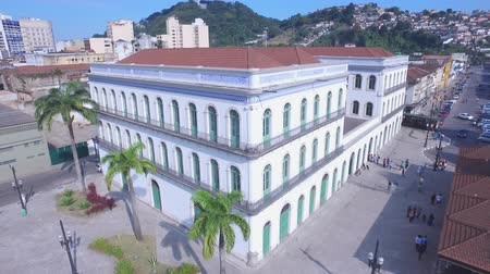 santos : Aerial Footage Pele Soccer Player of the museum in the city of Santos - Sao Paulo - Brazil Stock Footage