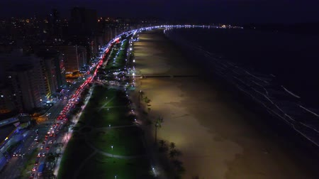 santos : aerial footage night vision in Santos city in Sao Paulo State. July, 2016.